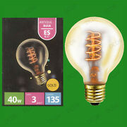 4x 40w Antique Vintage Gold G80 Dimmable Globe Light Bulbs, Screw Es E27 Lamps