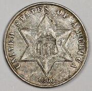 1860 Three Cent Silver. Natural Uncleaned. Au. 162768