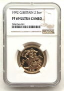 Great Britain 1992 St.george 2 Sovereign Ngc Pf69 Gold Coin,proof