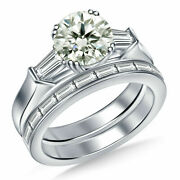 2.1ct Round Moissanite Solitaire 3 Stone 925 Sterling Silver Wedding Bridle Set