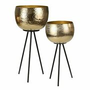 Hammered Textured Metal Bowl Planters On Tripod Base, Set Of 2, Gold And Black