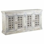 4 Doors And 2 Shelves Hand Carved Wooden Frame Sideboard Antique White