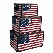 Wooden Trunks With Us Flag Print And Metal Corner Accent Set Of 3 Multicolor
