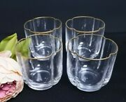 4 Vintage Lead Crystal Hand Made In Italy Gold Rimmed Lowball Rocks Glasses