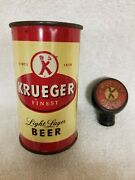 Rare Krueger Light Lager Flat Top Beer Can And Beer Tap Knob