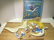 Vintage Toy 1960and039s Sanitoy Mother Goose Baby Crib Mobile W/ 2pc Support And Box