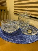 Waterford Crystal Set Of 3- Biscuit Jar / Candy Dish / Clock With Boxes