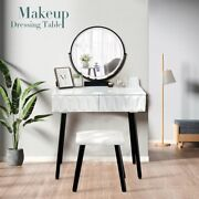 Vasques Vanity Table Set With Mirror And Stool.