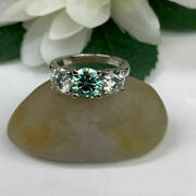925 Sterling Silver Blue Round 2.60ct Moissanite 3 Stone Wedding Bridle Ring