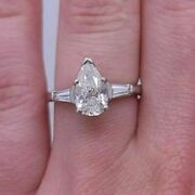 925 Sterling Silver Pear Cut 2.50ct 3 Stone Moissanite Wedding Bridle Ring