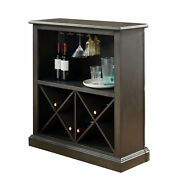 Wooden Bar Table With X Shaped Wine Holders And Wide Shelf, Gray