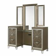 6 Drawer Wooden Vanity Desk With Tri Fold Mirror Gold