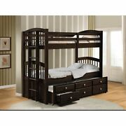 Wooden Twin/twin Bunk Bed And Trundle With 3 Drawers Brown