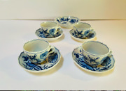 Meissen Antique Mocca Espresso Demitasse Cup And Saucer- Set Of 4- And Small Bowl