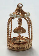 Vintage 14k Gold Movable Ballerina In Pearl Carousel 2 Charm / Pendant
