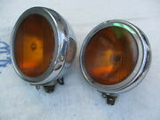 1920's-1930's 6 Inch Pierce Script Fog Lights With Flat Rims And Squared Rims
