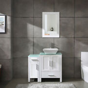 36 White Bathroom Vanity Cabinet And Sink Combo Glass Top Mdf Wood W/sink Set