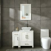 36 White Bathroom Vanity Cabinet And Sink Combo Marble Top Solid Wood W/sink