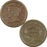 1850 Braided Hair Large Cent Chau Choice About Uncirculated Copper Penny 1c Coin