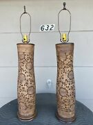 Neat Antique Pair Of Chinese Porcelain Carved And Reticulated Table Lamps 1920's