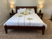 Excellent Condition Pottery Barn Valencia King Wood Sleigh Bed