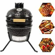 13 Inch Mini Ceramic Kamado Grill Outdoor Bbq Cooking Camping Picnic Portable