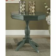 Wooden Octagon Shaped Side Table Pedestal Base Classic Antique Style Teal Finish