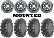 Kit 4 Ams Swamp Fox Plus Tires 27x9-12/27x12-12 On Itp Delta Steel Silver Can