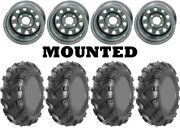 Kit 4 Ams Swamp Fox Plus Tires 27x9-12/27x12-12 On Itp Delta Steel Silver Act