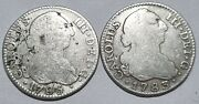 Charles Iii Antique Lot Of 2 Colonial Silver Coins 2 Reales 1785 1783 Madrid 2r