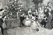 Christmas Time Tree 1869 Victorian Children Around Tree Ornaments Matted Print