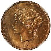 1896-h Liberia One Cent Bronze Coin - Ngc Ms 67 Rb - Km 5 - Top Pop-1