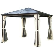 Outsunny 10' X 10' Aluminum Frame And Polycarbonate Hardtop Gazebo Canopy Cover