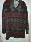 Whomay Unique Rare Indian Blanket Southwestern Suede Collar Button Down Coat 48