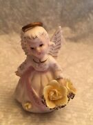 Lefton 3332 Figurine Porcelain March Angel Birthday. Yellow Roses In Basket.
