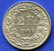 1944 Switzerland 2 Franc Silver Coin 10 Grams .835