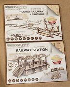 Lot Of 2 New Wooden City Round Railway W Crossing And Railway Station 3d Models