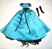Silkstone Barbie Fashion Turquoise Satin Gown Gown For Barbie Dolls Ske41