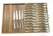 Kitchen Set P.h Silver 830 Antique 12 Coffee Spoons 12 Forks 4 Knives 1 Wood Box