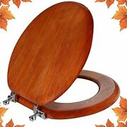 Round Toilet Seat Natural Wood Toilet Seat With Zinc Alloy Zinc Alloy Brown-red
