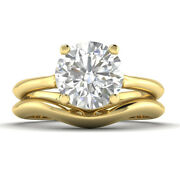 0.7ct D-si2 Diamond Vintage Engagement Ring 18k Yellow Gold Any Size