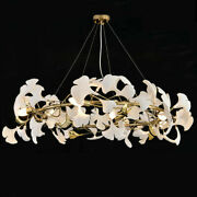 Branches Chandelier With Porcelain Leaves Modern Pendant Light Ring Hanging Lamp