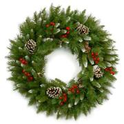 24 Inch Unlit Frosted Berry Christmas Wreath Indoor Decoration Heavy Duty Ring