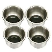 4pcs Recessed Cup Drink Holder Stainless Steel With Drain Boat Marine Rv Camper