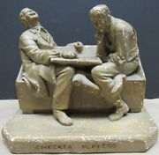 John Rogers Checker Players 1862 His 2nd Group Scarce Original Paint Statue