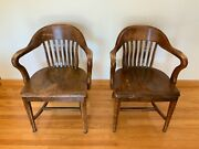 Two Antique Community's Boston Solid Oak Wooden Chairs W/ Tall Arms Set - Used