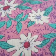 50cm X 110cm Pink Emerald Green Floral Vintage Cotton Sewing Fabric 1980s Retro