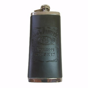 """2010 Jack Daniels Old 7 Brand Tennessee Whiskey 5 Oz Flask 6.25""""h-leather Wrap"""