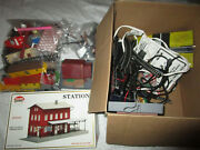 Vintage Lot Of Model Train Accessories Buildings Trains Tracks Bachmann Used