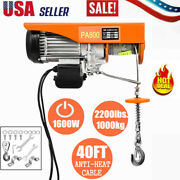 1800lbs 110v Electric Wire Hoist Winch Crane Lift 40ft W/ Wired Remote Control